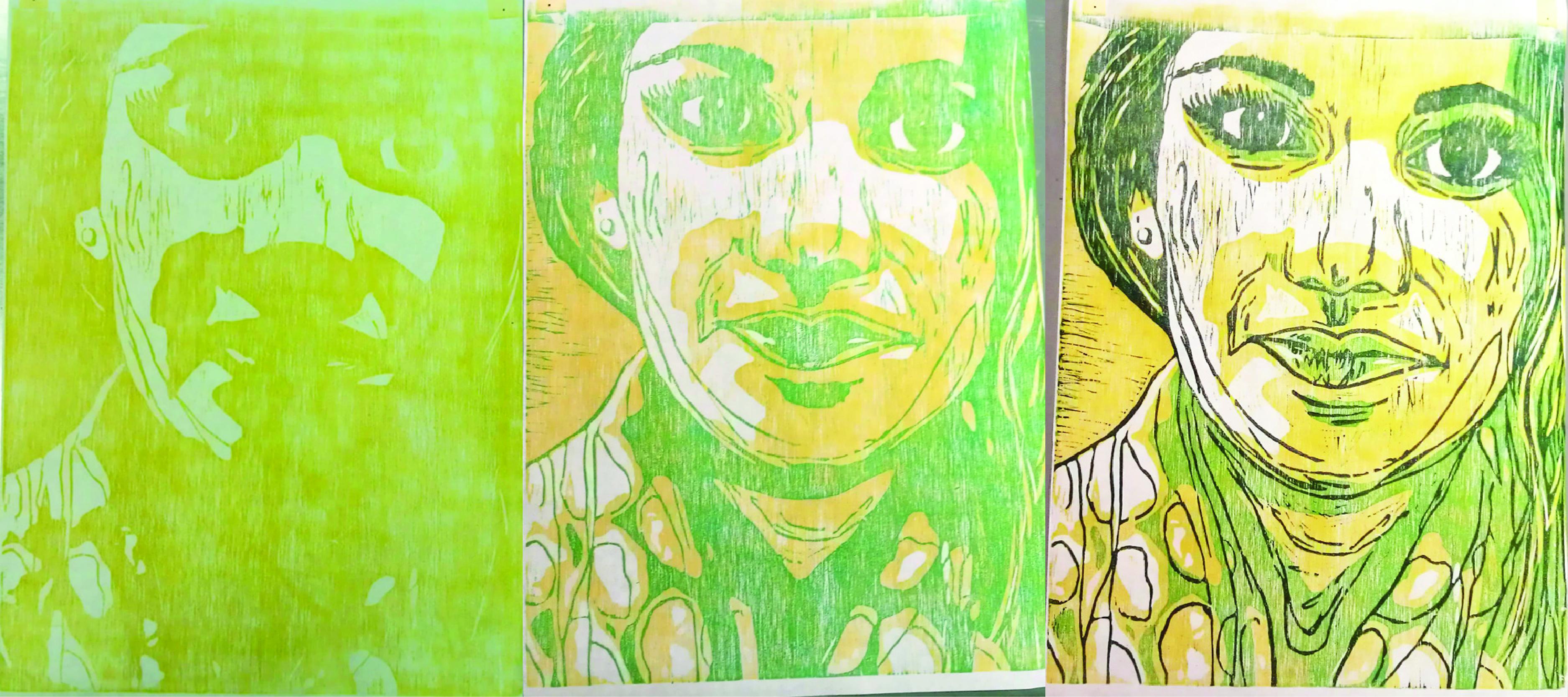 Self Portrait 3 Color Reduction Woodcut