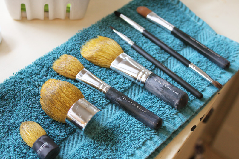 lay out brushes to dry 21
