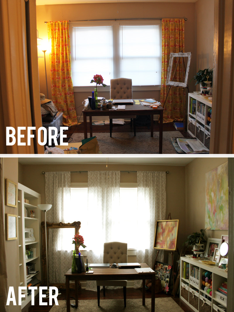 before after looking into room