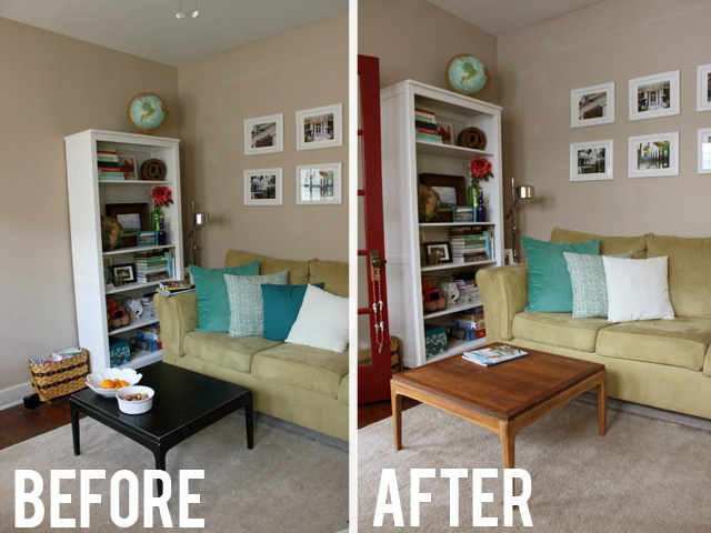 before after coffee table makeover