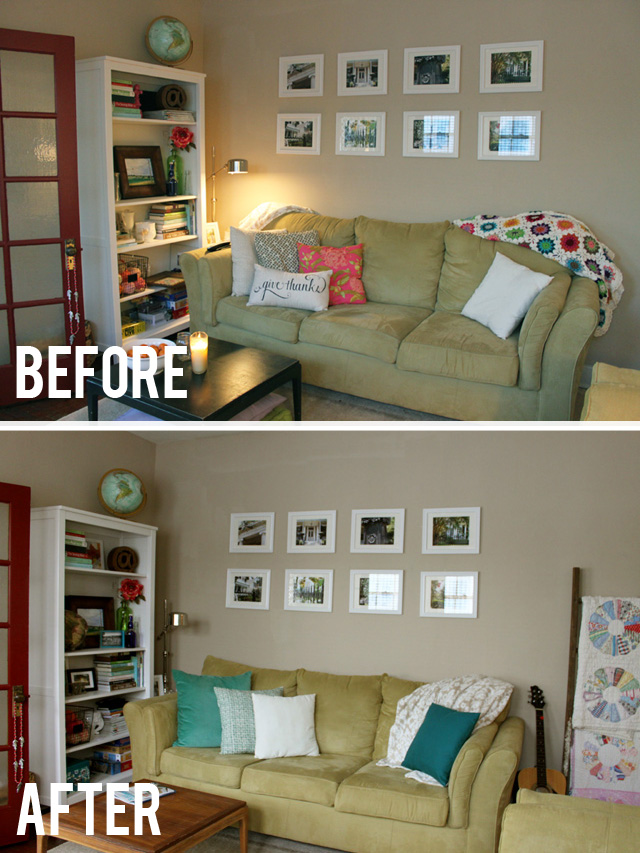before after living room couch