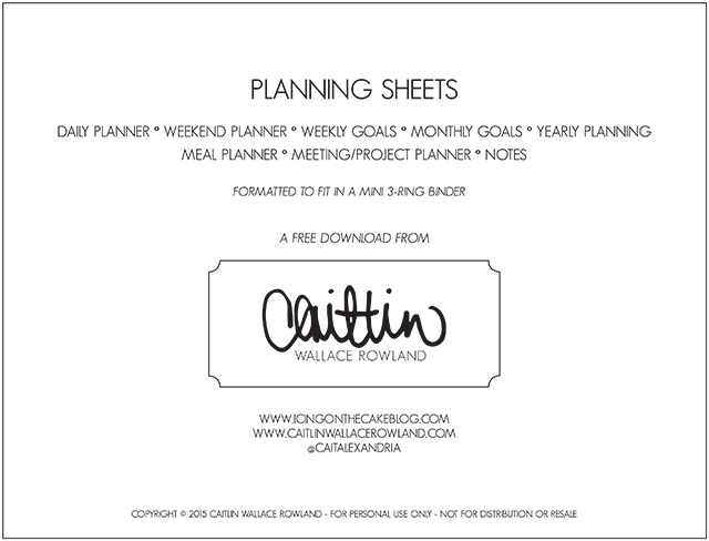 Caitlin Wallace Rowland Planning Sheets.indd